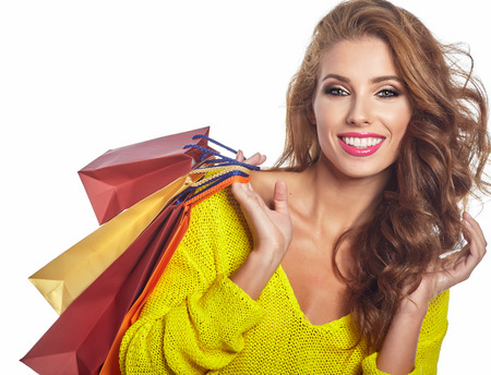 woman bag: Shopping woman holding bags, isolated on white studio background Stock Photo