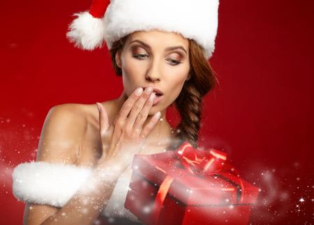christmas gifts: Christmas woman with gifts