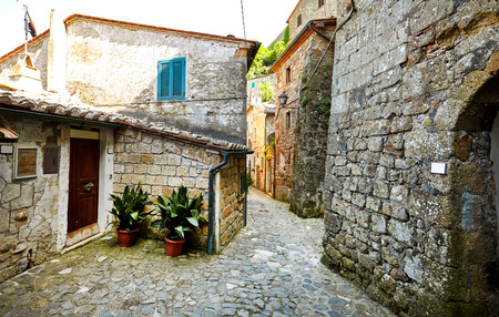 alley: Lovely colorful small town streets in Tuscany, Italy