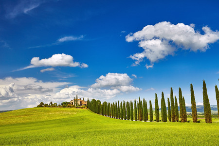 typical: Tuscany landscape with typical farm house, Italty Stock Photo