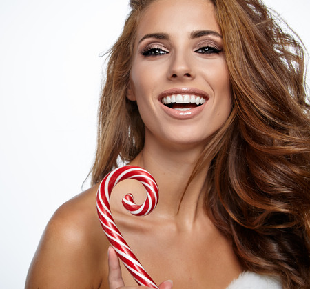 christmas woman: Beautiful vintage christmas woman isolated on white