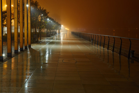granite park: The avenue of city park is shown at night in a fog Stock Photo