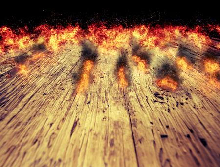 feu flammes sur un fond de table en bois