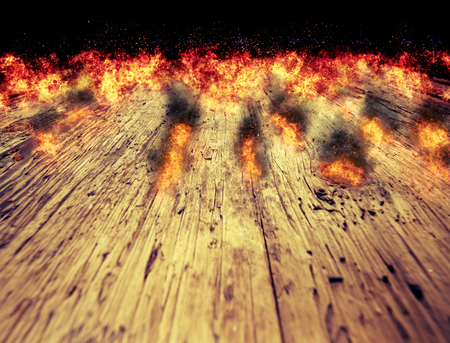 wood board: fire flames on a wood table background Stock Photo