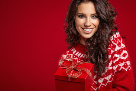 Woman with christmas box gift Stok Fotoğraf