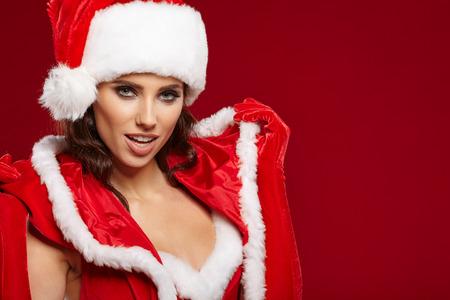white hat: Photo of fashion Christmas girl Stock Photo
