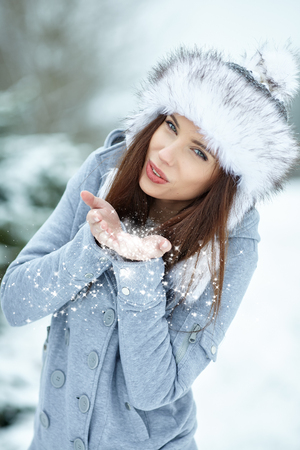 feminine beauty: Young woman winter portrait.