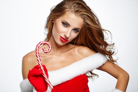 santa clause: Smiling girl in santa clause costume