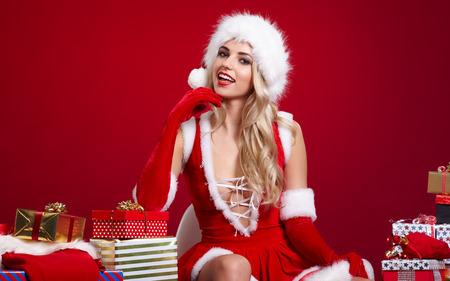 christmas woman: Christmas woman with gifts