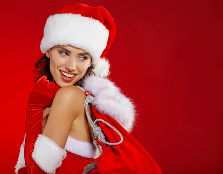 mrs  claus: Cute and sexy female santa claus Stock Photo
