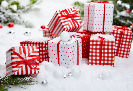 samples: Christmas composition with snow and Christmas decoration
