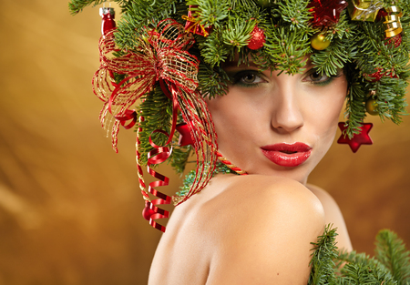 woman hairstyle: Beauty Fashion Model Girl with Christmas Tree Hairstyle