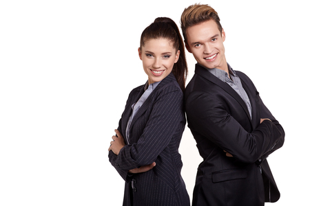 Portrait Of Happy Business Couple Standing Together Isolated On White Background Stock Photo