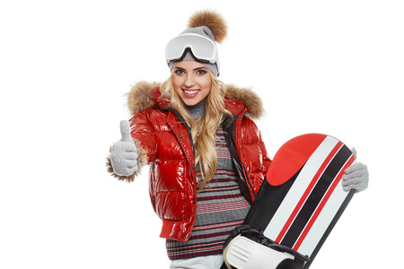beautiful model: Beautiful blonde model with a snowboard Stock Photo
