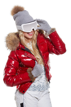 white winter: Beautiful blonde model in winter clothing