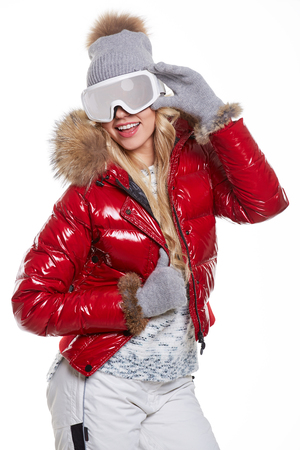 clothing model: Beautiful blonde model in winter clothing