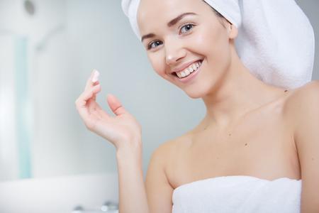 bath girl: Young Woman in the Bathroom
