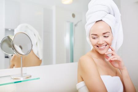 handbasin: Young Woman in the Bathroom