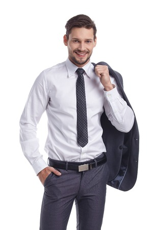 background person: Friendly and smiling businessman isolated on white background Stock Photo