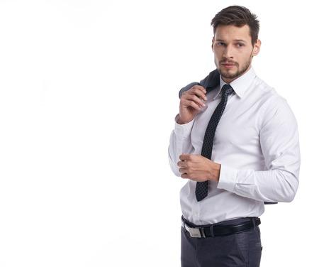 personas de pie: Amable y sonriente hombre de negocios aislados sobre fondo blanco Foto de archivo