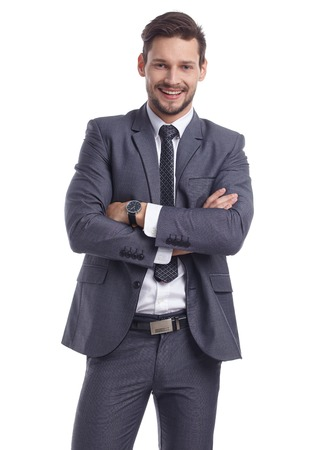 businessman smiling: businessman in suit