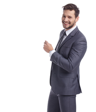 joyful businessman: businessman in suit