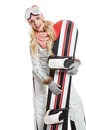 professional sport: Portrait of a styled professional sport model with snowboard. Stock Photo