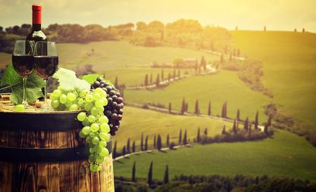 uvas: Vino rojo con el barril en la viña en verde Toscana, Italia