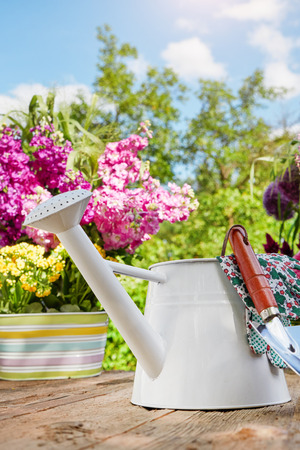 home and garden: Gardening tools on the terrace in the garden Stock Photo