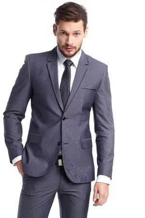 business, people and office concept - businessman in suit Foto de archivo