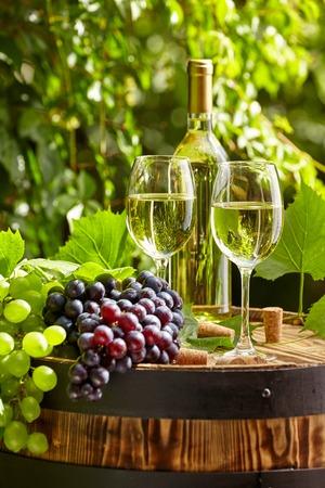 Grape and white wine on wooden barrel on garden terrace