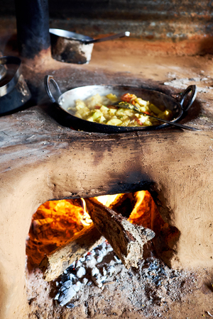 indian culture: Traditional natural clay oven Nepal