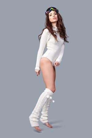 ski goggles: sexy woman in winter body sweater and  ski goggles