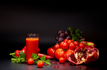 red cabbage: healthy vegetable juices for refreshment and as an antioxidant . Black background Stock Photo