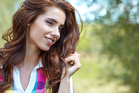 flowers sun: Beautiful woman in Tuscany, vacation in Italy Stock Photo