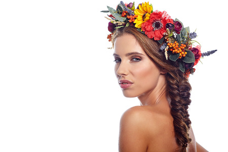 flower head: woman beauty face makeup with summer field wild flowers  isolated on white background