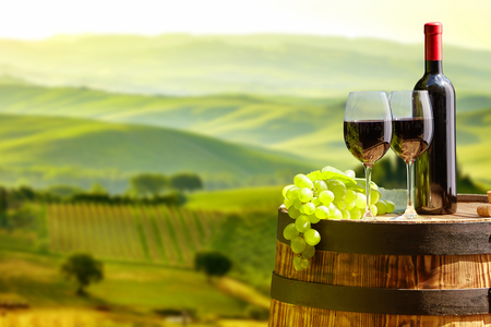 Red wine bottle and wine glass on wodden barrel. Beautiful Tuscany background Stock Photo - 54949022