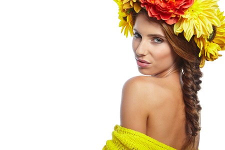 hair and beauty: Spring Woman. Beauty Girl with Flowers Hair Style.