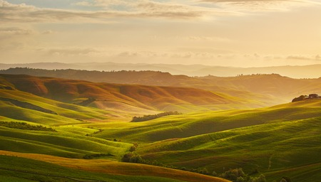 nature green: Beautiful view of green fields and meadows at sunset in Tuscany Stock Photo