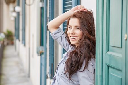 woman beautiful: Beautiful woman on the terrace of an Italian house