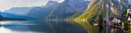 austrian village: Scenic panoramic picture-postcard view of famous Hallstatt mountain village with Hallstatter See in the Austrian Alps