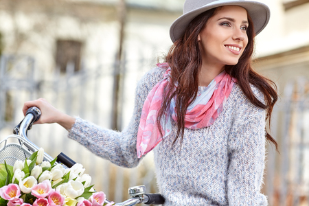sensual woman: Fashion style photo of a summer women  with vintage  bike