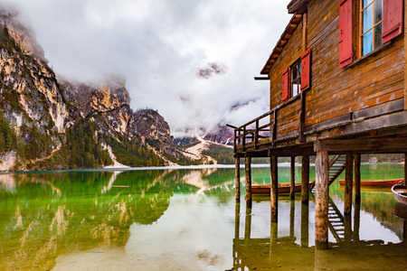sudtirol: Braies Lake in Dolomites mountains, Seekofel in background, Sudtirol, Italy