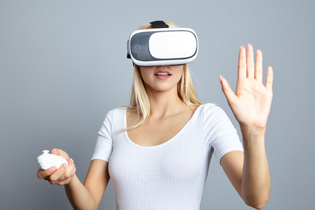 Woman wearing of VR goggles