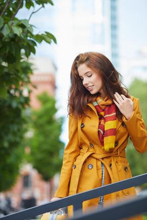 fashionable woman: Woman in autumn city Stock Photo
