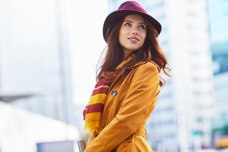 autumn city: Woman in autumn city Stock Photo