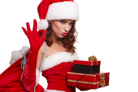 white hat: beautiful sexy girl wearing santa claus clothes