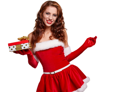 Christmas woman with gift box Stock Photo