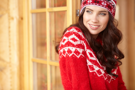 happy young woman in ski cothes outdoors. Stock Photo