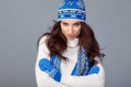 warm clothing: beautiful woman in warm clothing . Stock Photo